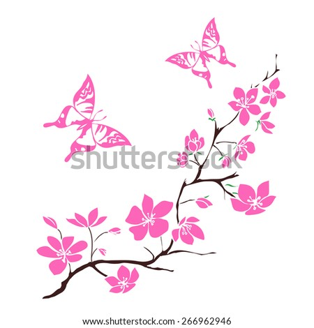 twig sakura blossoms and pink butterfly. Vector illustration - stock vector