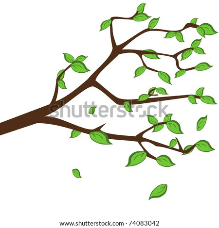 Twig with green leafs, seasonal backgrounds - stock vector