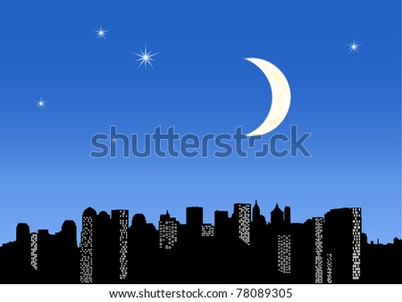 twilight city - stock vector