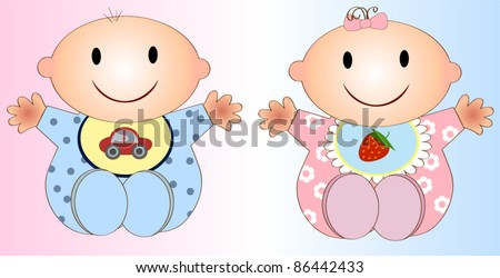 Twin Baby Boy And Girl.Vector illustration Two children