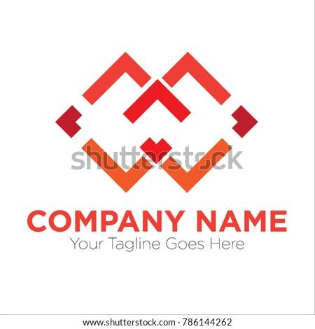 Twin Square Arrow Vector Illustration Logo Stock Vector 786144262