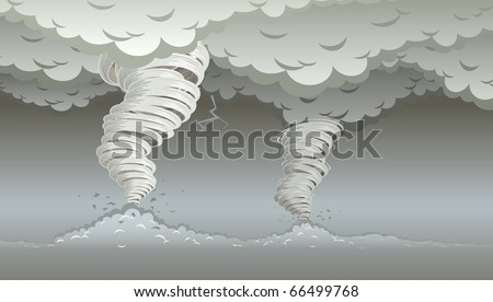 Twin tornado. Vector illustration. Elements are layered separately in vector file. - stock vector