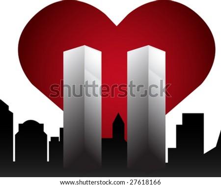 Twin Towers Memorial - stock vector