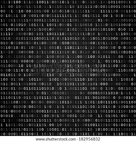 Twinkle binary code screen listing table on black background - stock vector