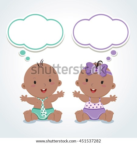 Twins. Cute babies with thinking bubbles. Vector illustration of adorable baby boy and girl.