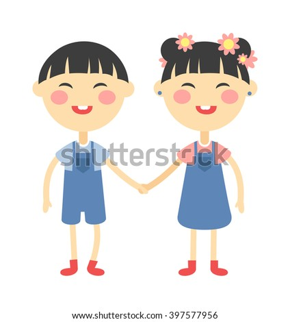 Twins kids holding hands and cute twins kids together. Twins happy kids holding hands boy and girl vector illustration.  - stock vector