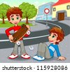 Twins with an homemade skateboard. Vector and cartoon illustration. - stock vector