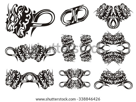 Twirled dragon symbols in tribal style. Set of decorative symbols of a furious dragon. Black on the white - stock vector