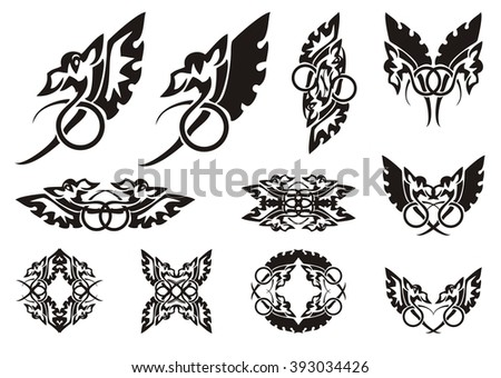 Twirled dragon symbols. Winged amusing dragon with the tail twirled in a ring, frames and symbols from him  - stock vector