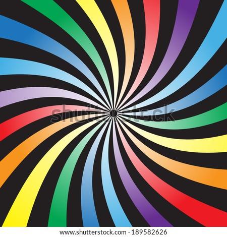 Twist rainbow beam on black background ,vector eps10 - stock vector