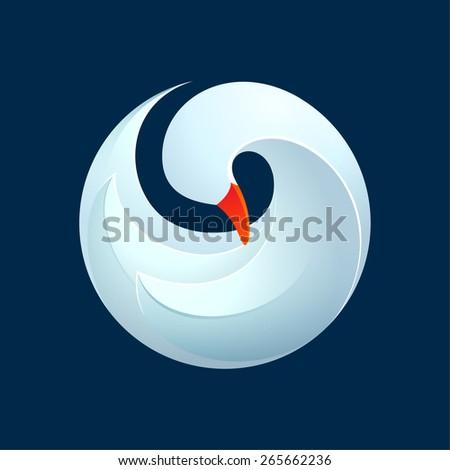 Twist volume goose, swan, bird, logo, symbol, icon, graphic, vector illustration  - stock vector