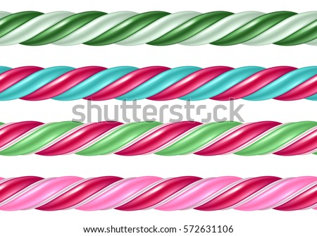 Twisted candy cane colorful seamless borders set. Stick of hard candy pattern. Vector illustration.