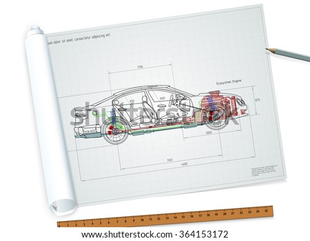 Twisted Detailed Engineering Drawing Car Vector Stock Photo (Photo ...