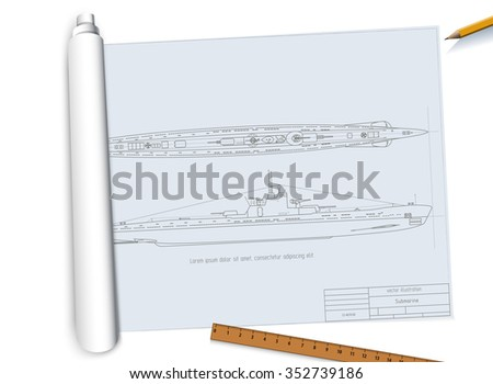 Twisted drawing submarine.