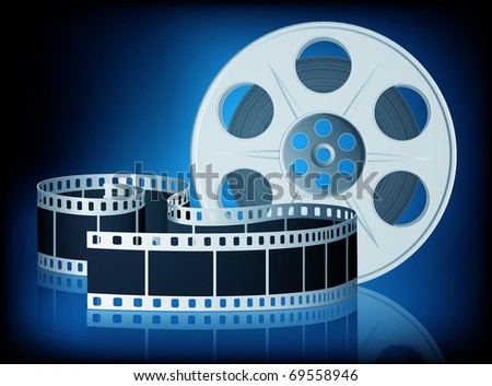 Twisted film for movie on blue background. Vector Illustration. EPS10 - stock vector