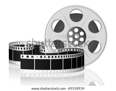 Twisted film for movie on white background. Vector Illustration. EPS10
