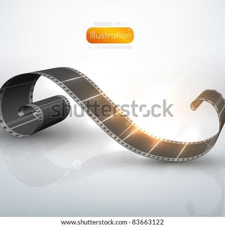 twisted film for photo or video recording - stock vector