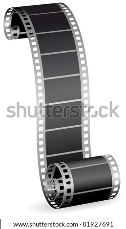 twisted film strip roll for photo or video on white background vector illustration - stock vector