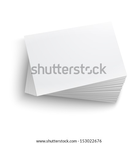 Twisted stack of blank business card on white background with soft shadows. Vector illustration. EPS10. - stock vector