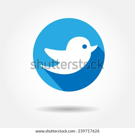 twitter bird blue flat icon Vector illustration EPS 10 - stock vector