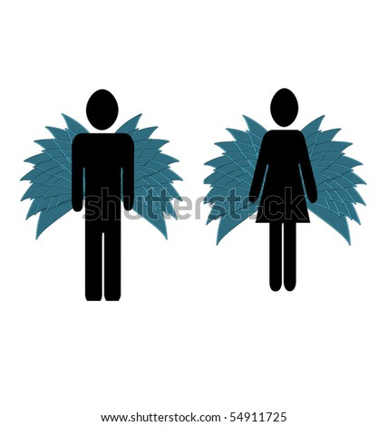 two abstract angels with wings