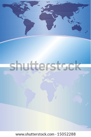 Two abstract backgrounds in blue tones with the continent outlines