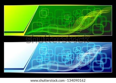 Two Abstract banners backgrounds in green blue colors for advertising information - stock vector