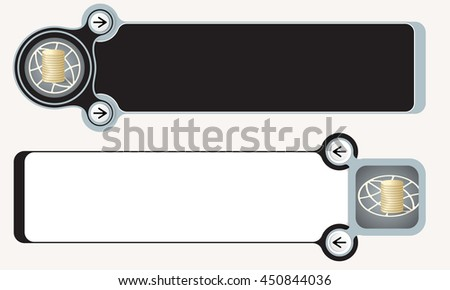 Two abstract boxes for your text and globe and coin - stock vector