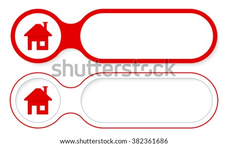 Two abstract buttons for your text and home symbol - stock vector