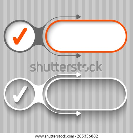 Two abstract frames with arrows and check mark - stock vector