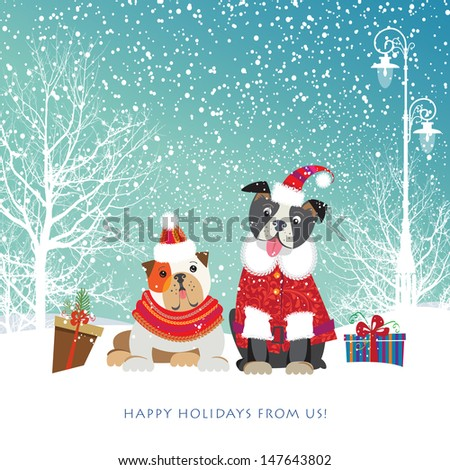 Two adorable puppies in cute Christmas outfit bring holiday gifts in boxes. Vector EPS 10 illustration.   - stock vector