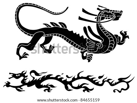 Two ancient dragons - stock vector