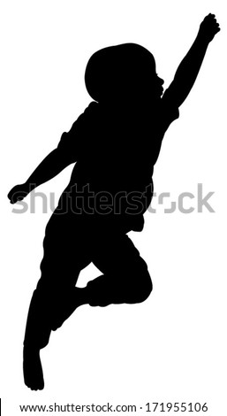 two and a half years old baby boy sleeping, silhouette vector