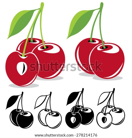 Two and three sweet cherries in color and black and white over white background - stock vector