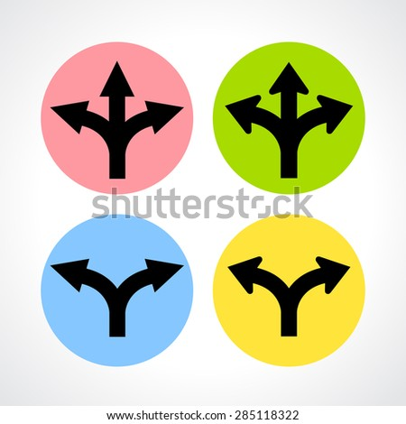 Two and three way fork icons - stock vector