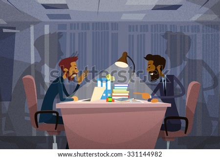 Two Angry Business Man Arguing Talking, Businessmen Chat Sitting Office Desk Concept Communication Problem Flat Vector Illustration - stock vector