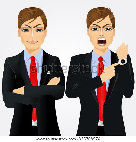 Two angry businessmen standing with arms folded and pointing finger to his wristwatch showing the time and yelling. Arriving late concept - stock vector