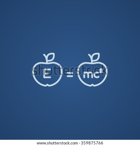 Two apples with formulae line icon. - stock vector