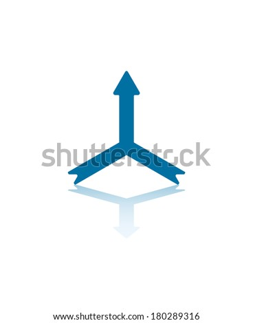 Two Arrows Connecting Into One Central Arrow - stock vector