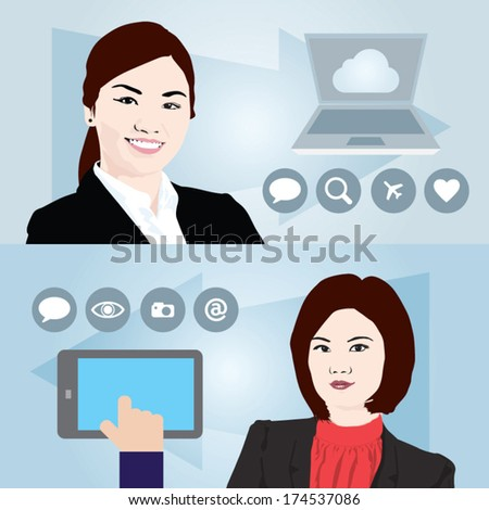 Two Asian Business women in a colorful template design. Vector illustration. Includes info-graphic icons. - stock vector
