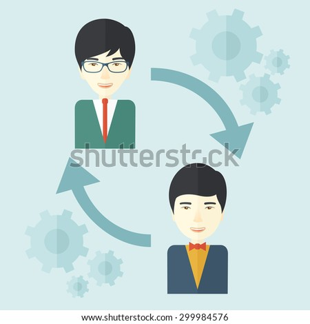 Two asian men in exchanging ideas. Partnership concept. A contemporary style with pastel palette soft blue tinted background. Vector flat design illustration. Square layout. - stock vector