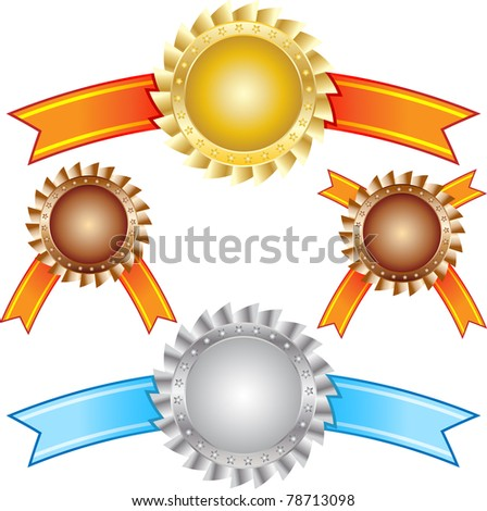 Two award with ribbon gold and silver - stock vector