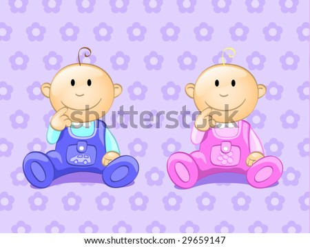 two babies - stock vector