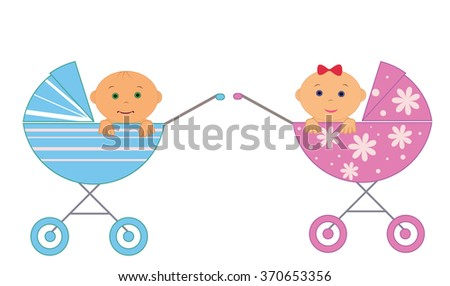 Two baby a boy and a girl in a wheelchair - stock vector