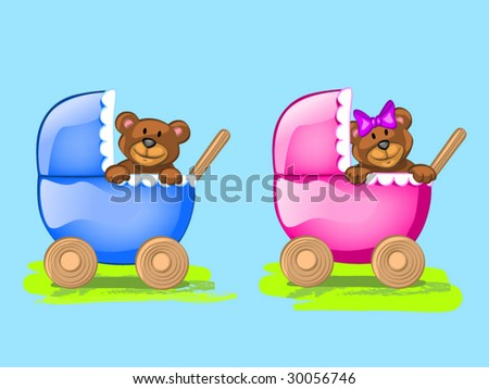 two baby bears - stock vector