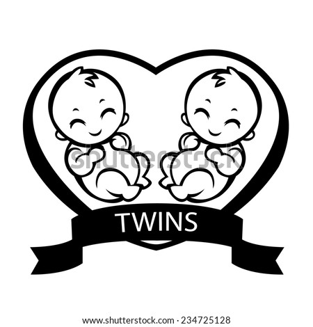 two baby twins allegorical drawing love stock vector royalty free