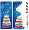 Two background or border vector illustrations for birthday, anniversary and party celebrations. Candles, cake, streamers and background on separate layers for easy editing. - stock photo