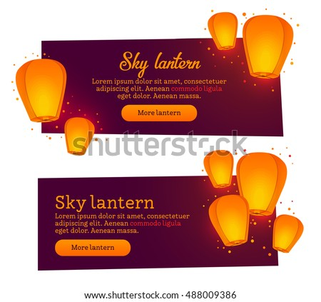 Two banner for web design. Sky lanterns theme.