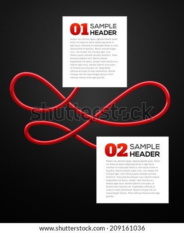 Two banners connected with red wire. Industrial infographic concept. Vector illustration. - stock vector