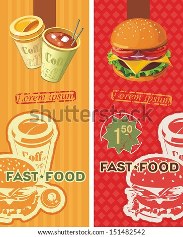 Two banners for the fast-food. Vintage Labels. Information Template Banner - stock vector